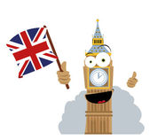 Funny Big Ben Holding a Flag — Stock Vector