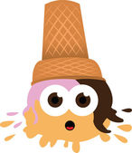 Ouch - Ice Cream falls to the ground — Stock Vector