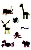 Funny animals silouettes — Stock Vector