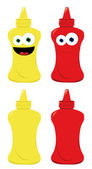 Funny Mustard and Ketchup — Stock Vector