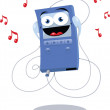 Stock Vector: Funny Blue Mp3 Player