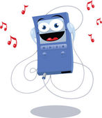 Funny Blue Mp3 Player — Stock Vector