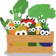 Stock Vector: Funny Veggies in Wooden Box