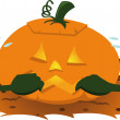 Scared pumpkin — Stock Vector