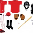 Stock Vector: Baseball Equipment