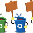 Stock Vector: Funny recycling bins and signs