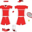 Stock Vector: Complete red Tennis Equipment