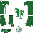 Green and white soccer equipment — Stock Vector