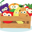 Funny Fruit in a Box - Stock Vector