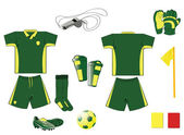 Complete green and yellow soccer set — Stock Vector