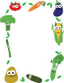 Funny Vegetables Frame — Stock Vector
