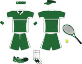 Green and White Tennis Equipment — Stock Vector