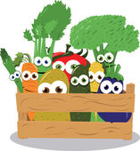 Funny Veggies in a Wooden Box — Stock Vector