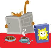 Cat Breakfast — Stock Vector