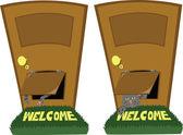 Door with a cat flap — Stock Vector