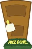 Kapalı kapı ve boş bir işaret — Stok Vektör