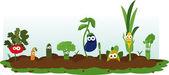 Funny Veggie Garden — Stock Vector