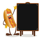 Funny Hot dog and a blackboard — Stock Vector