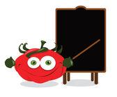 面白いトマトと黒板 — ストックベクタ