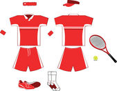 Complete red Tennis Equipment — Stockvector