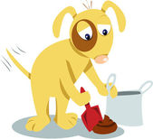 Even dogs know you have to clean it up! — Stock Vector