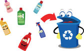 Funny Recycling Bin and Plastic Bottles — Stock Vector