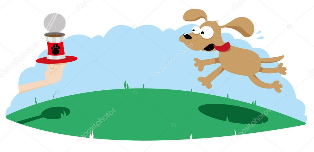 A vector cartoon representing a cute dog running towards a dog food can served on a tray — Stock Vector #14036986