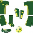 Green and yellow soccer set - Stock Vector