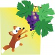 Stock Vector: Fox and Grapes