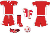 Red and white soccer equipment — Stock Vector