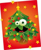 Lindo árbol de navidad — Vector de stock