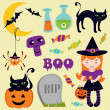 Halloween icons set - Stock Photo