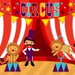 Tamer and lions circus performance - Stock Vector
