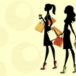 Stock Vector: Two chick women shopping