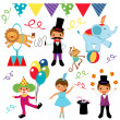 Cute circus elements collection - Stock Vector