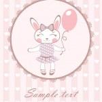 Cute bunny girl with balloon — Stock Vector