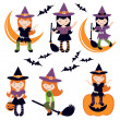 Cute little witches set — Stock Vector