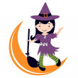 Little witch dancing on moon — Stock Vector
