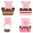 Stock Vector: Cute pigs on cakes