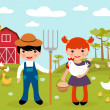 Stock Vector: Cute little farmers at farm