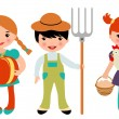 Stock Vector: Little farmers set