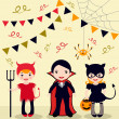 Stock Vector: Halloween party kids
