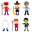 Stock Vector: Halloween kids set