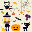Stock Vector: Cute Halloween collection