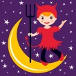 Cute little devil dancing on the moon — Stock Vector