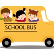 Happy kids in school bus — Stock Vector