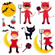 Little devils set — Stock Vector