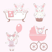 Baby bunnies set — Stock Vector