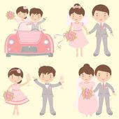 Leuke set van bruiden en bruidegoms — Stockvector