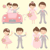 Cute set of brides and grooms — Stock Vector